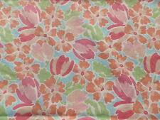 Vintage 1980's Laura Ashley Cotton Fabric Panel Abstract Flowers in Pink & Blue