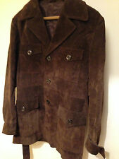 "Retro TRUE VINTAGE 100% Suede Indie Mod Leather Belted Dark Brown Jacket 38"" MED"