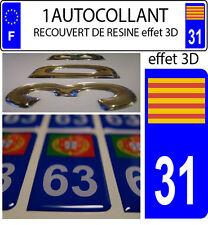 1 sticker plaque immatriculation auto 3D EN RESINE DRAPEAU CATALAN CATALOGNE 31