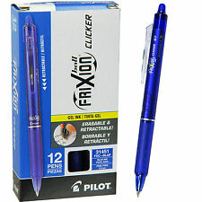 Pilot FriXion Ball Clicker 0.7 Retractable Erasable Blue Gel Ink Pen, Box of 12