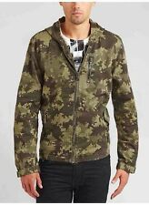 Guess Digital Camouflage Safari Jacket With Hoodie Zipper Pockets Size XS