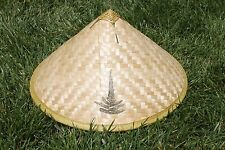 Asian Chinese Vietnamese Bamboo Straw Sun Rice Garden Fishing Cone Shaped Hat