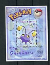 Antigua & Barbuda 2002 MNH Pokemon #170 Chinchou 1v S/S Nintendo Stamps