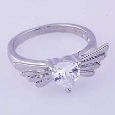 Womens Ring Angel's Wing Cubic Zirconia White Gold Filled Wedding Size 5.25