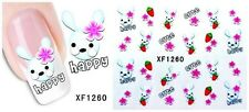 Nail Art Water Decals Stickers Transfers Wraps Easter Bunny Rabbits Carrots 1260