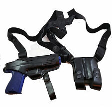 Armadillo Black Leather Horizontal Miami Vice Shoulder Holster for Glock (Eco-B)