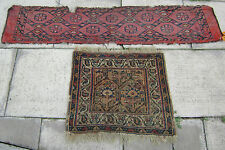 ANTIQUE TURKMEN TURKMENISTAN PANEL WEAVING RUG AND A HALF KHORJIN BAG FACE RUG