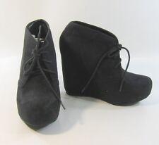 "Blacks 5""high hidden wedge heel 1.5 platform round toe ankle sexy boot size  7"