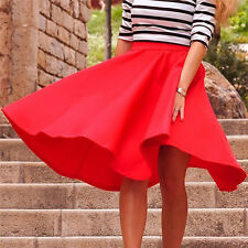 New Lady Stretch High Waist Skater Flared Pleated Swing Long Skirt Dress LCF