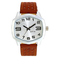 SPYN White Dial Hexa White Wrist Watch for Men Boys -Silver
