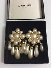 CHANEL White Glass Pearl And Silver Crystal Earrings Excellent Vintage Condition