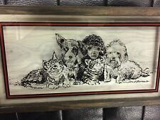 Dog And Cat Glass Picture With Frame