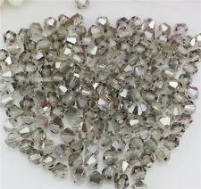 Free Shipping DIY jewelry 100PCS Silver Gray 4mm#5301 Bicone Crystal Beads New #