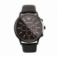 Armani Sportivo AR2462 Black / Brown Leather Analog Quartz Men's Watch