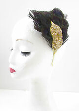Black & Gold Peacock Feather Fascinator Headband Vintage 1920s Flapper Deco V86