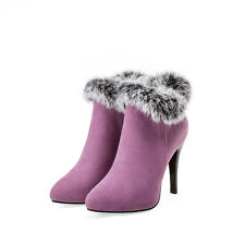 Womens Fur Trim High Heel Side Zip Pointy Toe Sexy Ankle Boots Shoes Plus Sz 45