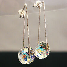Moonlight Clear Crystal Swarovski Element 925 Silver Dangle Earrings Threader