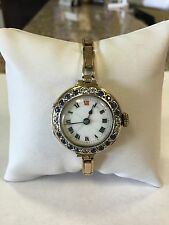 Ladies Vintage Victorian Yellow Gold Diamond Sapphire Watch Self Adjusting Band