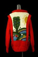 vintage womens red folk DOBRILA cardigan sweater hand knit chunky yugoslavia L