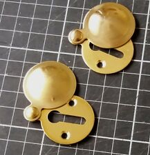2 x Keyhole Polished Brass Escutcheon Key Covered Plates-30mm New Old Stock