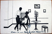 1921 Risque, Silhouette Postcard: Woman in Night Clothes on Chair, Man