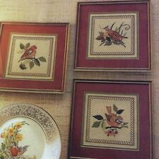 Spring Birds Trio counted cross stitch magazine patterns, fabric & floss lot