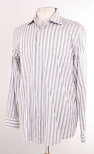 PAL ZILERI MADE IN ITALY BROWN & WHITE STRIPED MEN'S FORMAL SHIRT 17""