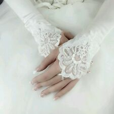 Fingerless White Satin Pearl Embroided Wedding Lace Gloves Formal Bridal. 571