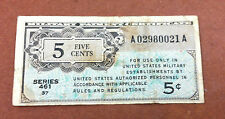 Us Military Payment Certificate 5 Cents,Series 461,A02980021A