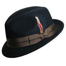 SCALA ** BLACK WOOL FEDORA HAT * XXL * NEW MENS TRILBY CRUSHABLE LINED GODFATHER