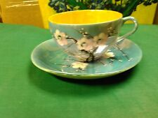Vintage Trico Nagoya Handpainted Blossom Blue & Peach Luster Cup & Saucer