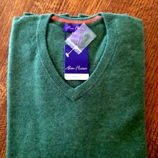 Alan flusser 100% Cashmere sweater 2XL  XXL solid Cactus Green V-Neck NWT