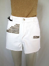 GINA TRICOT New Womens White Shorts Customised Cotton Sexy Hot Pants sz 16 AQ91