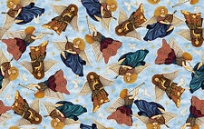 """Quilting Treasures Heavenly Angels Light Blue Cotton Fabric Yardage 44"""" Wide"""