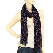 Black and Purple Zebra Shimmer Scarf