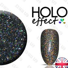 BLACK  HOLO LASER MERMAID EFFECT NAILS ART POWDER  GEL HYBRID ACRYLIC Holograph
