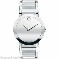 NEW MOVADO SAPPHIRE 38MM MUSEUM SILVER TONE DIAL MEN'S WATCH 0606093