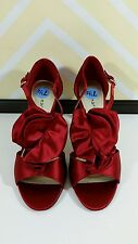 "Ann Marino Size 7.5 Red Satin Dressy Shoes Ruffle 3"" Spiked Heel Stilettos Party"