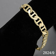 Men's 14K Yellow Gold Plated 9 Inches Chain Cuban Link Bracelet 9 mm