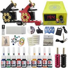 Complete Beginner Tattoo Kit 2 Machine Gun Power Supply 10 Ink Needles Set DJ13A