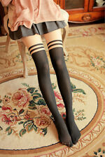 Retro Gothic Mock Over The Knee Double Stripe Sheer Pantyhose Tights Stockings
