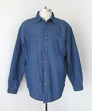VGC Wrangler Blue Denim Jean Shirt Jacket Shirtjac Quilted Lining Hand Pockets L