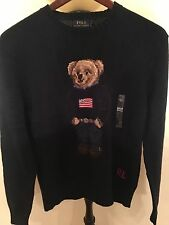 NWT Med Polo Ralph Lauren Polo Bear Sweater Weekend Bear American Flag Navy Blue