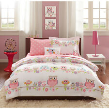 FULL 8 Pc Girls OWL BEDDING SET Bag Pink Purple Flowers Animal Comforter Sheets