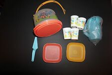 Tupperware kids set cake taker plates tumblers pitcher animals summer colors new