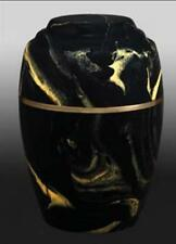 Vase Style Black and Gold Cultured Marble Cremation Urn - perfect for burial