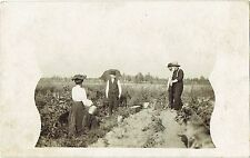 RPPC Real Photo Postcard Four People & Dog In Farm Field Planting Seeds