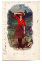 vintage Art postcard woman with pick axe looking for that no good man of hers