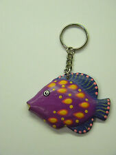Tropical Fish Collectible Key Chain Small Key Ring Purple Yellow Blue Pnk 2 x 3