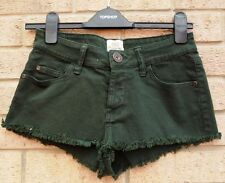 RIVER ISLAND RARE GREEN DENIM JEANS FRINGE CUT OUT SUMMER HOT PANTS SHORTS 8 S